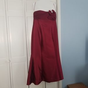 Red, silk/wool blend cocktail gown, Size 14